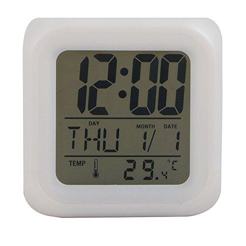 Ocamo Despertadores con LED Cambio de Color LCD, LCD Reloj Despertador Termómetro Fecha Hora Luz de la Noche