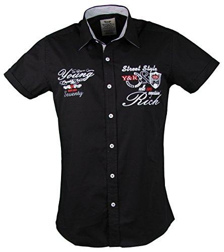 Young&Rich Kurzarm Hemd - Freizeithemd - körperbetont - mit Stickapplikationen (4XL, Schwarz)