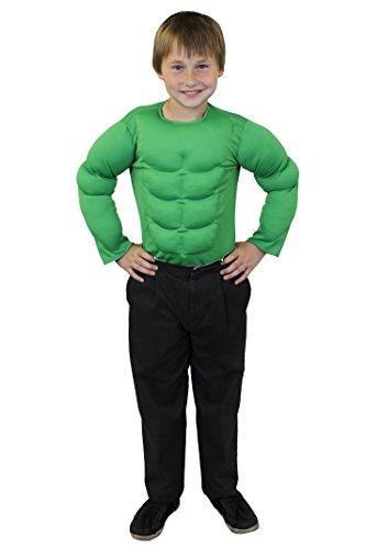 KINDER BRUST MUSKEL KOSTÜM IN 6 VERSCHIEDENEN FARBEN UND 2 VERSCHIEDENEN GRÖßEN= VON ILOVEFANCYDRESS® = SUPER FÜR JEDE SUPERHELDEN KINDER VERKLEIDUNG ODER WRESTLER KOSTÜM= IN DER FARBE GRÜN & GRÖßE (Kinder Avengers Muskel Kostüme Hulk)