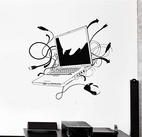 Wuyyii Computer Vinyl Wandaufkleber Laptop Computer Online Internet Gamer It Spiel Zimmer Wandbild Kunst Wand Aufkleber Büro Zimmer Dekoration 58X67Cm