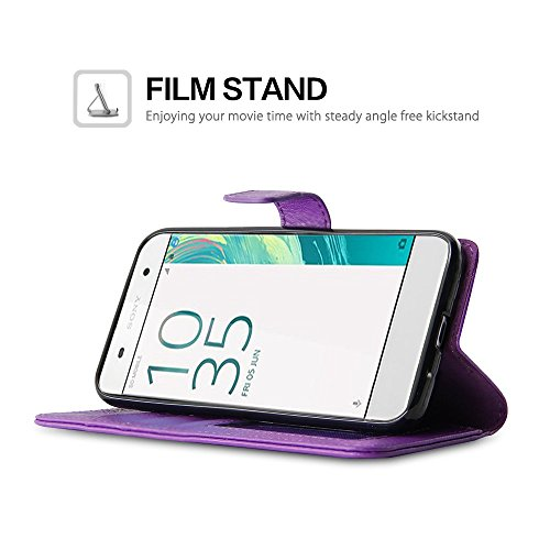 Sony Xperia XA Cas - BELK Svelte PU cuir flip protection Note Billfold Magnetic portefeuille Full Body Poche Pouch pour 2016 Sony Xperia XA avec des fentes de cartes et de stand-métrage, Noir Violet