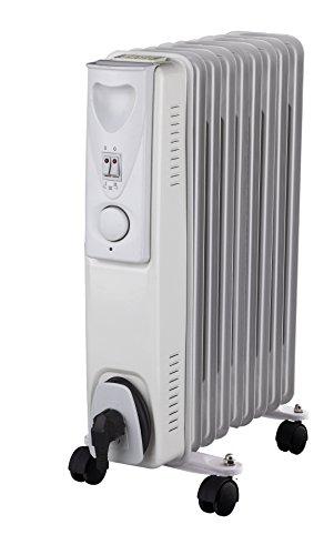 Daewoo Blanc Radiateur à bain d'huile Électrique Portable. 9 éléments, 2000W. 3 niveaux de puissance et thermostat réglable. Couleur blanc. Design exclusif.