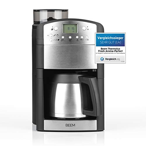 BEEM Fresh-Aroma-Perfect Thermolux | Kaffeemaschine mit Mahlwerk für Kaffeebohnen und Filterkaffee| 1,25 l Isolierkanne für 2-10 Tassen | inkl. Permanentfilter und Timer [1000 Watt/silber]