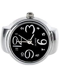 Sanzhileg Reloj de Dedo Redondo Elegante del Reloj de Dedo del Acero Inoxidable del Reloj de Dedo de señora Girl Stylish Quartz con el Regalo de la Navidad del Reloj