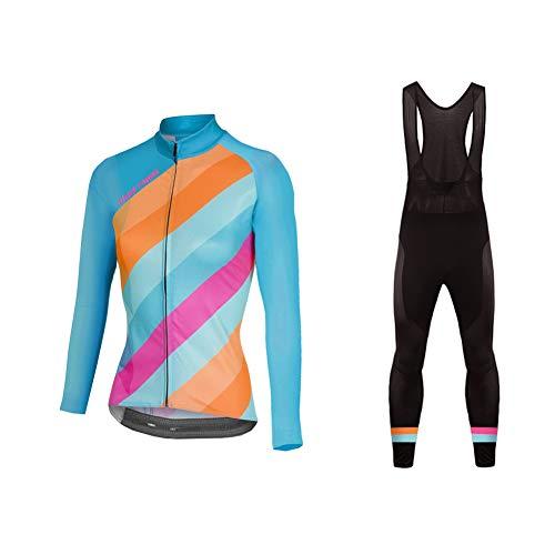 Uglyfrog Donna Maglia da Ciclismo da Ciclismo Inverno Fleece Sweat Maglia da Ciclismo a Manica Lunga+Lungo Bib Pantaloni Body(Due Caricato) Aggiornamento dello St