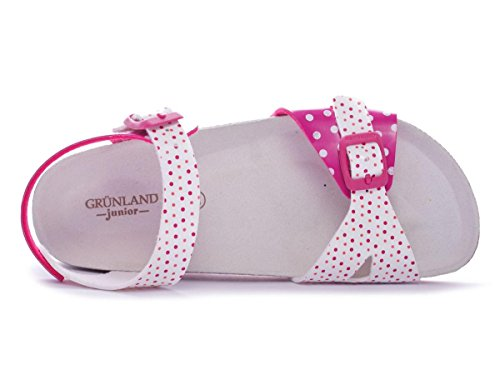 Grünland DEHA SB0544 25/26 fuchsia sandales blanches enfant boucles pois Fuxia-Bianco