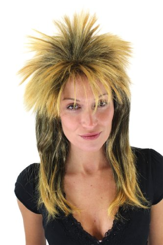 WIG ME UP Wilde Perücke Damen/Herren Punk Rock Glam 80er Retro Schwarz/Orange VZ-079-P103P144