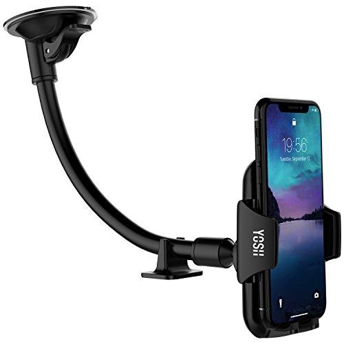 Handyhalter fürs Auto YOSH Windschutzscheibe Handyhalterung 297mm lange Halterungarm Auto KFZ Halterung Handy universal 360° drehbar stabil für iPhone X 8 7 6 plus 5s Samsung S9 S8 S7 S6 A7 Huawei HTC Xiaomi LG