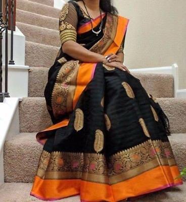 Devpriya Fashiom black colour printed khadi Saree with Blouse Piece