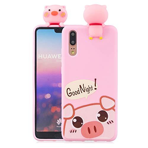 Yobby 3D Cartoon Hülle für Huawei P20 Pro,Niedlich Rosa Schwein Motiv Weiches Silikon Gummi Stoßfest Handyhülle,Tiere Lustig Cool Schale Schutzhülle für Kinder Mädchen Teen Jungs -