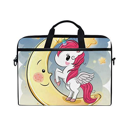 Ahomy Cartoon Unicorn The Moon Multifunktionale Stofftasche Wasserdicht Laptop Tasche Aktentasche Schultertasche Messenger Bag