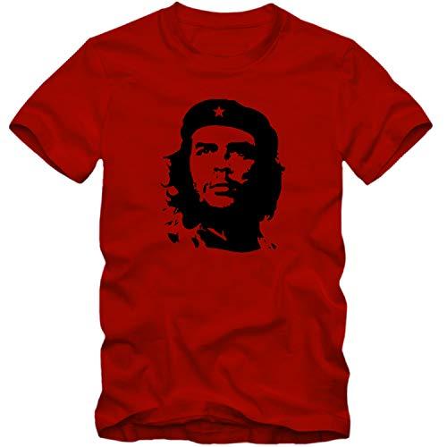 Herren T-Shirt Che Guevara Kuba Cuba Argentinien Viva la Revolution Rebellen Shirt, Farbe:rot, Größe:XXXL -