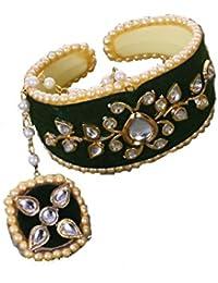 Saraa Beautiful Gold Plated Jodhpuri Style Royal Black Velvet Kundan Pearl Ring Bracelet/Hand Bracelet for Girls/Women