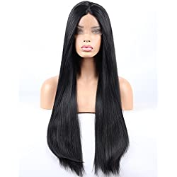 vvBing Lace Front Wigs Women Long Yaki Straight Black Wig Glueless With Baby Hair Heat Resistant Fiber Hair Half Hand Tied 24inch
