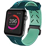 Memore® Silicone Action Band, Apple Watch Strap, Apple Watch Band, Replacement Wrist Band, Bracelet Band For Apple Watch, IWatch, Series 1, Series 2, Series 3 & Nike Sport Series (42mm, Green & Mint) (AB-5)