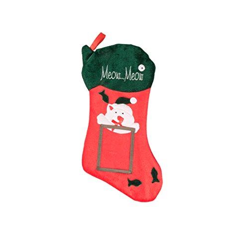 Clever creations - calza di natale a tema gatto - con cornice per foto da 10 x 13 cm - in morbido tessuto e ideale per bambini e adulti - per piccoli regali e dolcetti - rosso e verde - 47 cm