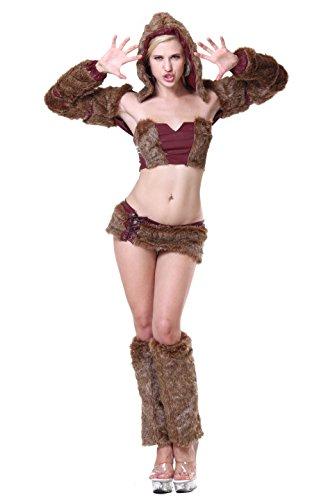 6Moon Damen Jäger kostüm Fell-Kostüm Braun 5-teilig 11207
