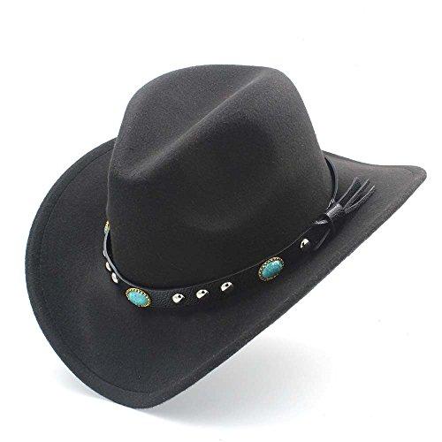CSNMALL Woolen Western Cowboyhut Mit Schwarzem Band 56-58cm Mode-Dekor Krempe Aufgerollt 9 Farben Optional (Farbe : Schwarz, Größe : 56-58CM)