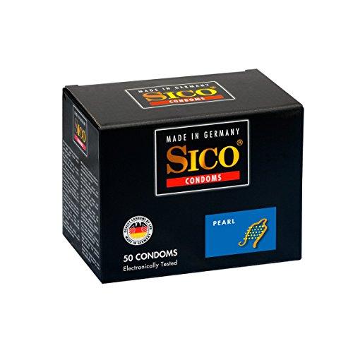 SICO Pearl Kondome - mit Noppen für maximale Gefühlsintensität - Naturkautschuklatex - einzeln verpackt in einer Box - 50er - Made in Germany