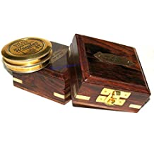 Antiker Messing Kompass Sonnenuhr London Magnetisch 3 Zoll Kompass Mit Holzkiste