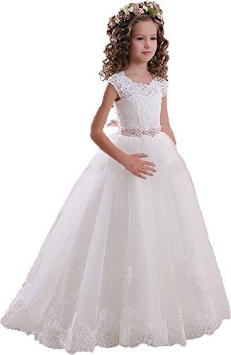 KekeHouse® Mädchen Spitze Tüll Rückenfrei Blumenmädchen Kleid Hochzeit Kinderkleid Kommunionskleid mit Gürtel Weiß Alter 9
