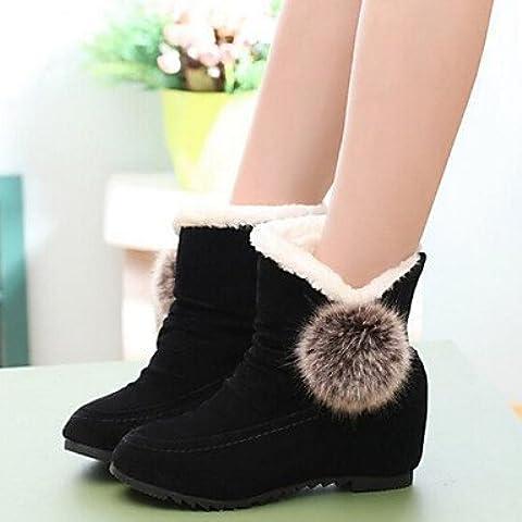 Zapatos de mujer talón plano comodidad cálido botas vestido/casual negro/amarillo/rojo/gris, negro, us6.57 / eu37 / uk4.55 / cn37