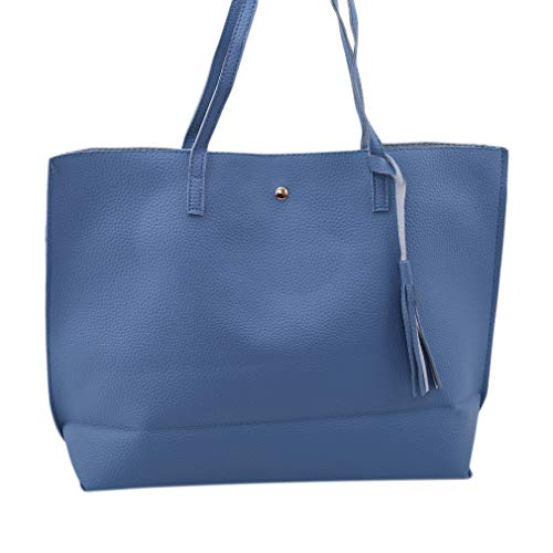 Pinhan Fashion Damen Quaste Einfache Schulter Handtasche Große Kapazität Tasche Geburtstag, Hellblau -