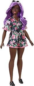 Barbie - Fashionista Muñeca Morena con Pelo Lila y Vestido de Flores (Mattel FXL58)
