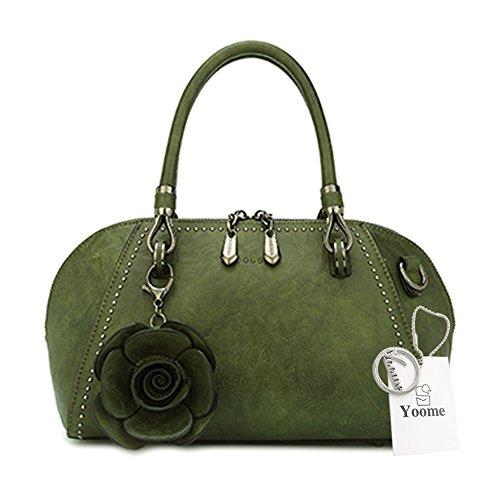 Borse Retro Yoome per Donne Handbags Top Handle Borsa Satchel Elegante Pendente Fiore Large - Rosa verde