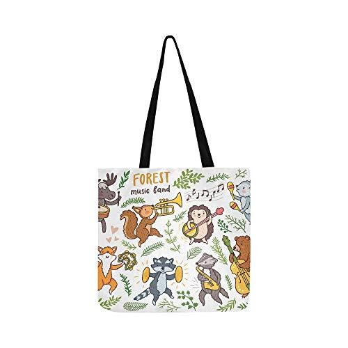 Vektor Forest Dancing Animals Fox Waschbären Canvas Tote Handtasche Schultertasche Crossbody Taschen Geldbörsen für Männer und Frauen Einkaufstasche