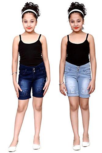 FNocks Girls STREACHABLE Denim Casual WEAR Shorts (Combo of 2) (Blue, 12-13...