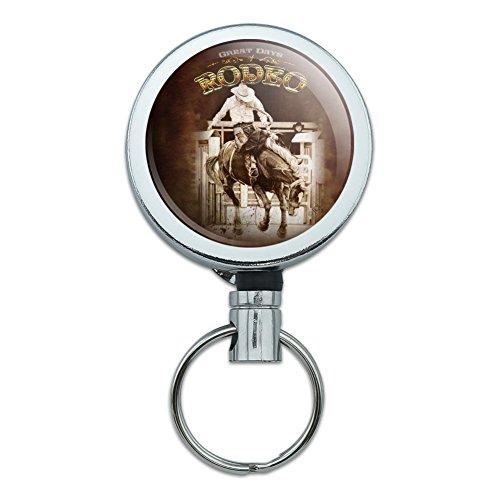 Cowboy Western Rodeo Vintage Pferd Bucking Reiten Heavy Duty Metall Retractable Reel ID Badge Key Card Tag Holder mit Gürtel Clip