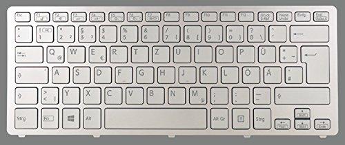 NExpert deutsche QWERTZ Tastatur für Sony Vaio Fit 13A multi-flip SV-F13N1L2E/S Neu silber DE