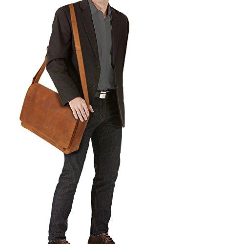 STILORD 'Tom' Vintage Borsa a tracolla in pelle da uomo donna Cartella porta PC 15 pollici documenti Messenger casual da viaggio in cuoio , Colore:siena - marrone marrone - sabbia