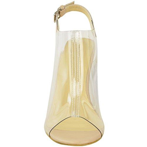 Escarpins avec lanières - talons hauts transparents - plexiglas - femme Couleur chair verni/plexiglas