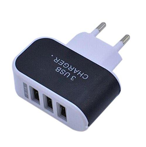 HOOUDO 3.1A Triple USB Port Wand Home Reise AC Ladegerät Adapter für S6 EU Stecker (Schwarz) (Ac Wand Home-adapter Auto)
