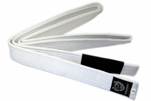Okami fight gear, cintura per gi-kimono, per jiu jitsu brasiliano, bianco (weiß - weiß), 300 cm