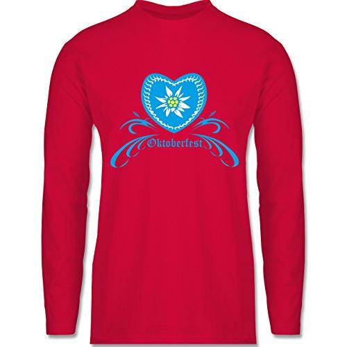 Oktoberfest Herren - Oktoberfest - Herz mit Edelweiss - Longsleeve / langärmeliges T-Shirt für Herren Rot