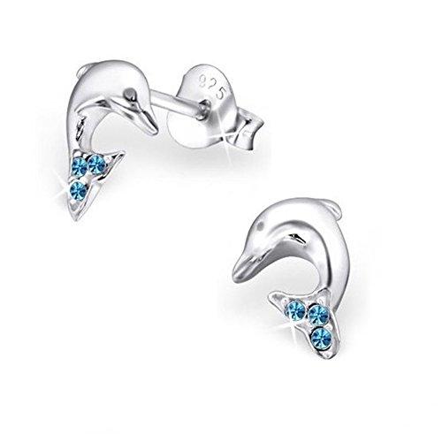 GH1a Blau Kristall Delfin Ohrstecker Ohrringe 925 Echt Silber Mädchen Damen Ohrhänger Delphin Tier-ohrringe