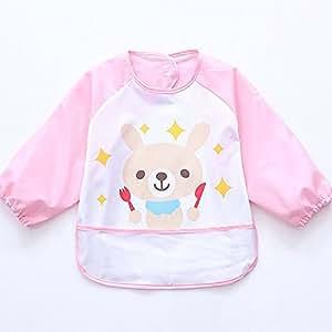 Oral-Q Unisex Bambini Arts Craft pittura grembiule bambino impermeabile Bavaglino con maniche e tasca, 6 - 36 mesi, B Light Pink Bunny (Set di 1)