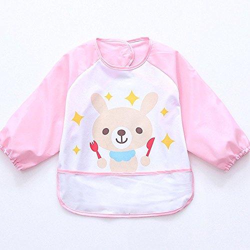 Oral-Q Unisex Bambini Arts Craft pittura grembiule bambino impermeabile Bavaglino con maniche e tasca, 6 - 36 mesi, Set di 1 (B Light Pink Bunny)