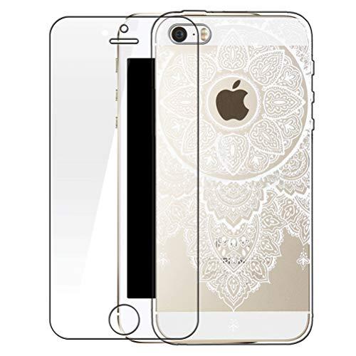 Zeattain iPhone SE Hülle mit Panzerglas, iPhone 5/5s Hülle Transparent Silikon Weiß Henna Mandala Muster Cover Case Durchsichtig Handy Tasche Schutzhülle für iPhone SE/5/5s (4.0 Zoll)