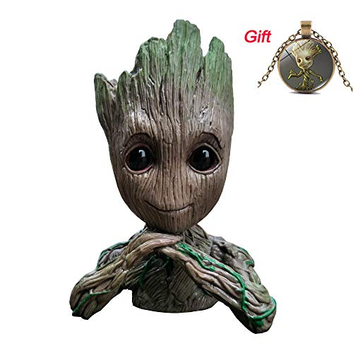 BEYOND MS Groot Flowerpot Guardians of The Galaxy Baby Action-Figuren niedliches Modell Spielzeug Stift Pot mit Groot Baby Anhänger für Kinder