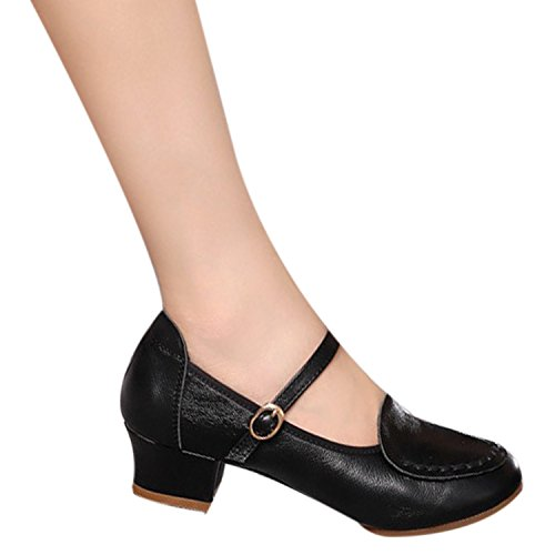 Oasap Femme Mode Mary Janes Chaussure Danser Bout Rond Black