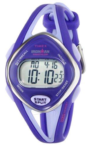 timex women's ironman t5k654 purple resin quartz watch with digital dial