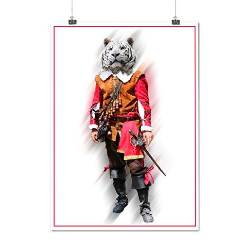 Tiger Ritter Cool Komisch Kostüm Katze Mattes/Glänzende Plakat A3 (42cm x 30cm) | Wellcoda