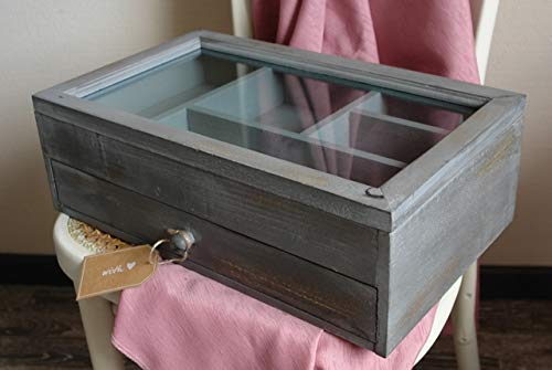Großer Schmuckkasten aus Holz Grau im Shabby Stil -