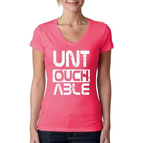 Fun Sprüche Girlie V-Neck Shirt - Untouchable Clear Looks by Im-Shirt Light-Pink