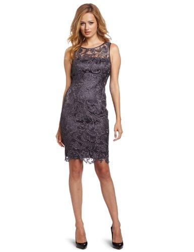 Adrianna Papell Damen Kleid Illusion Neck Lace Dress, Grau-Grau (Anthrazit), 6