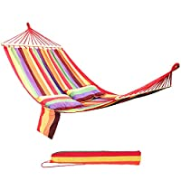 SONGMICS Hammock Portable with Two Pillows 70% Cotton 2 Person 240 x 150 cm max. load 300 kg